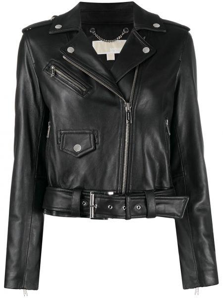 Кожаная черная куртка байкерская на молнии Michael Kors