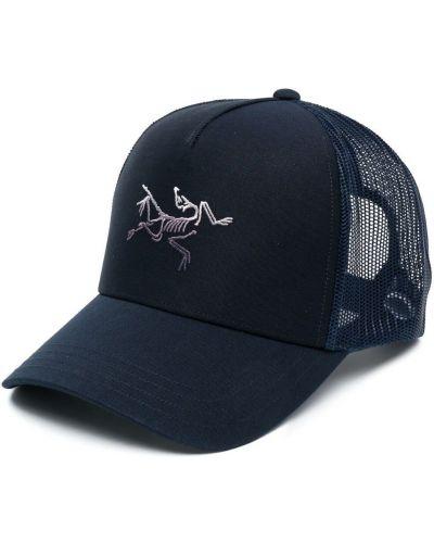 Niebieska czapka z haftem bawełniana Arcteryx