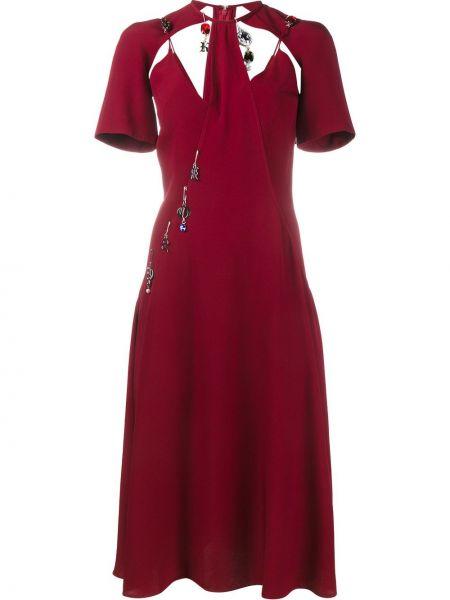 Srebro jedwab sukienka mini krótkie rękawy okrągły dekolt Christopher Kane