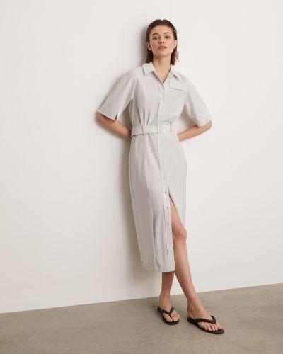 Шерстяное серое платье-рубашка с поясом 12storeez
