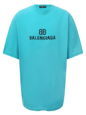 Бирюзовая французская футболка Balenciaga