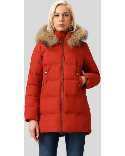 Утепленная куртка с енотом коричневая Finn Flare