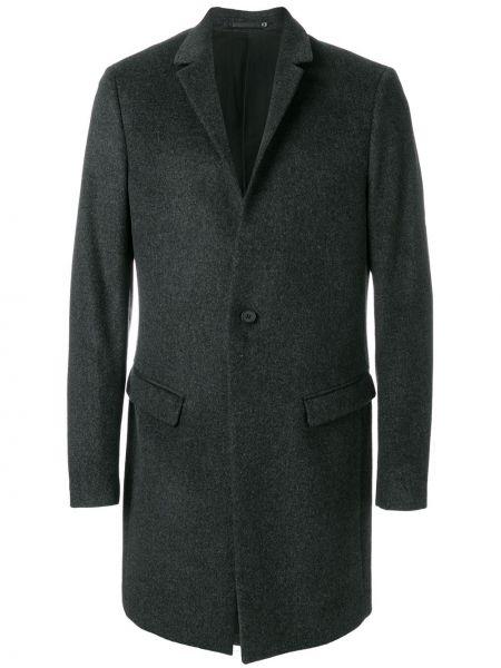 Однобортное серое шерстяное пальто Allsaints