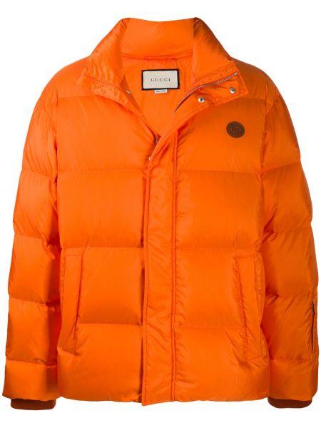 Pomarańczowa długa kurtka skórzana z długimi rękawami Gucci