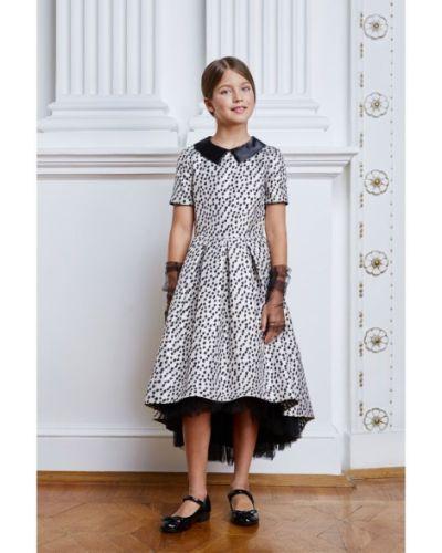 Пышное платье с рукавами жаккардовое смена