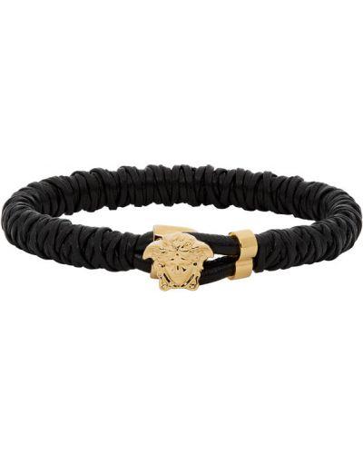 Skórzany czarny bransoletka z gniazdem Versace