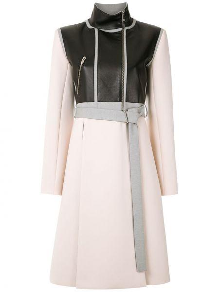 Приталенное кожаное длинное пальто с воротником Gloria Coelho