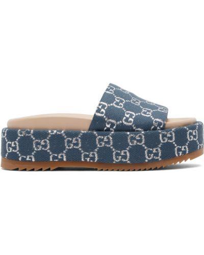 Otwarty brezentowy niebieski sandały na klinie Gucci