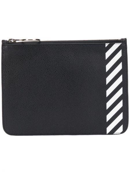Czarny portfel skórzany w paski Off-white