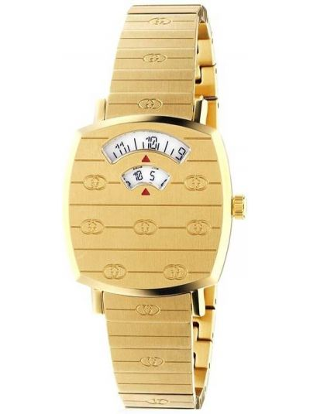 Puchaty zegarek kwarcowy złoto z szafirem Gucci