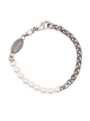 Biała bransoletka srebrna perły Dsquared2