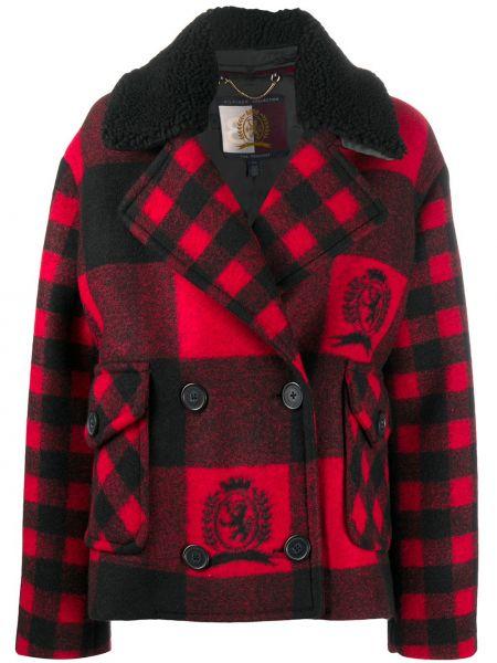 Шерстяное черное длинное пальто двубортное Tommy Hilfiger