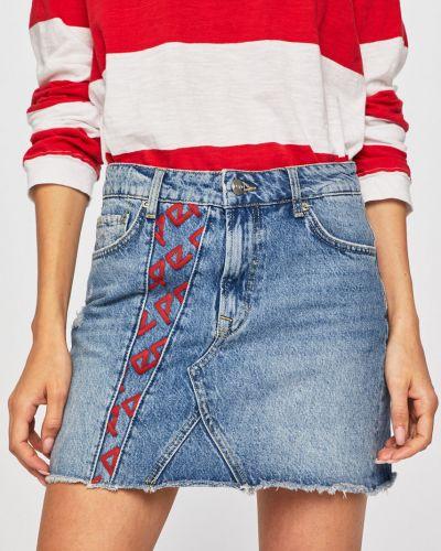 Синяя джинсовая юбка с поясом узкого кроя на пуговицах Pepe Jeans
