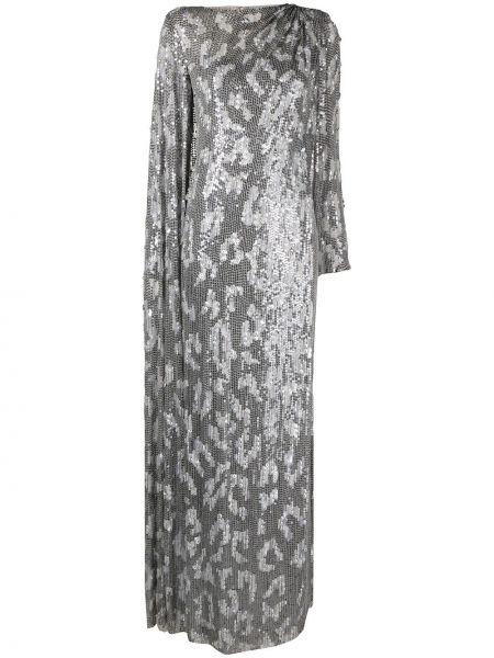 Серебряное с рукавами платье макси с пайетками Jenny Packham