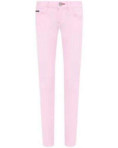 Хлопковые розовые джинсы Philipp Plein