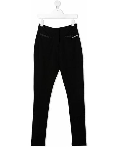 Хлопковая прямая черная футболка с круглым вырезом Karl Lagerfeld Kids