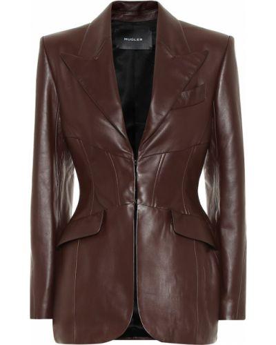 Домашний коричневый кожаный пиджак Mugler
