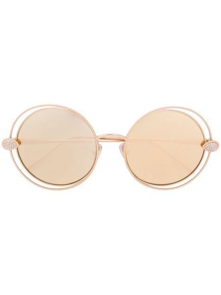 Золотистые желтые солнцезащитные очки круглые металлические Boucheron Eyewear