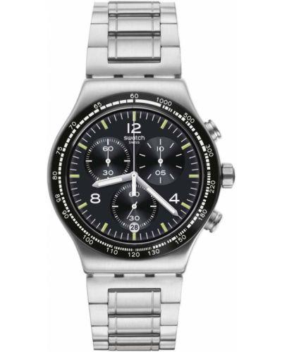Акриловые со стрелками серебряные часы водонепроницаемые Swatch