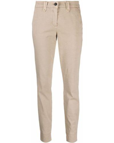 Брючные бежевые брюки дудочки с карманами Luisa Cerano