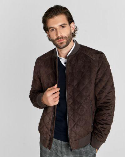 Коричневая замшевая куртка ветрозащитная Ostin