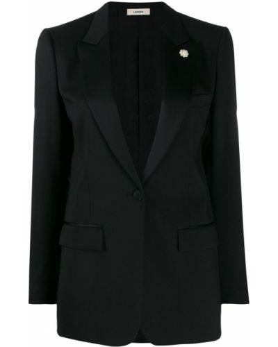 Черный удлиненный пиджак с карманами с воротником Lardini