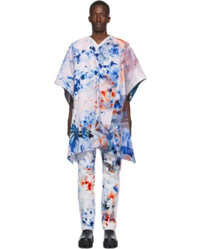 С рукавами синее пончо с карманами с заплатками S.r. Studio. La. Ca.