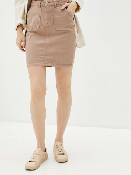 Джинсовая юбка весенняя бежевый Ichi