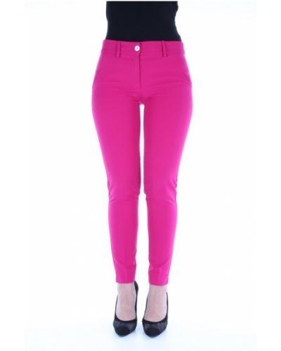 Różowe klasyczne spodnie klasyczne materiałowe Lanacaprina