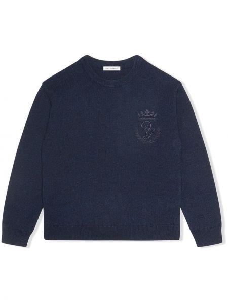 Синий кашемировый джемпер круглый Dolce & Gabbana Kids