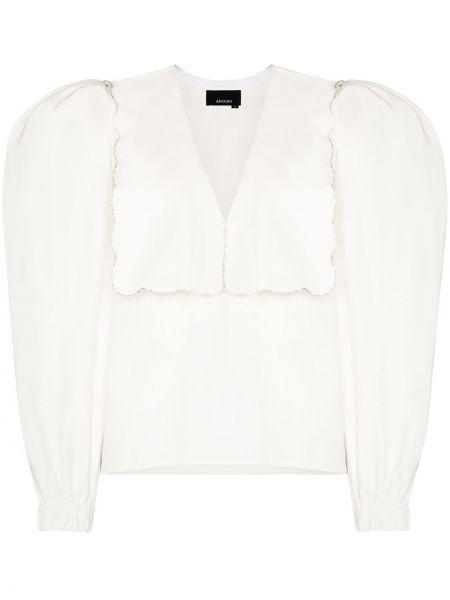 С рукавами белая акриловая блузка Anouki