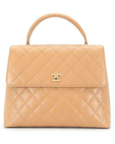 Коричневый золотистый кожаный портфель Chanel Pre-owned
