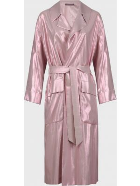 Шелковый розовый плащ с поясом Alberta Ferretti