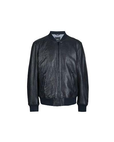 Кожаная куртка синяя Strellson