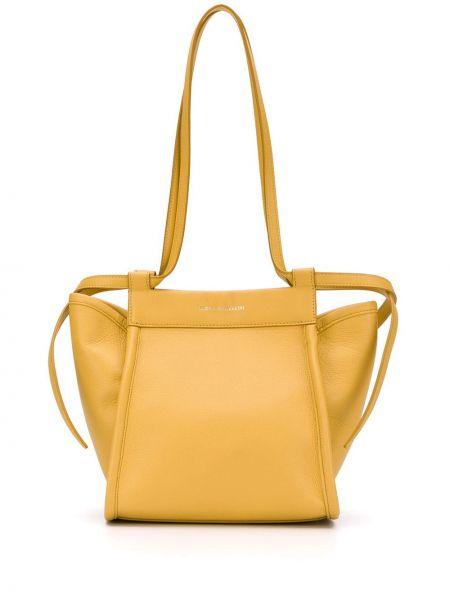 Кожаная желтая мешковатая сумка-тоут Elena Ghisellini