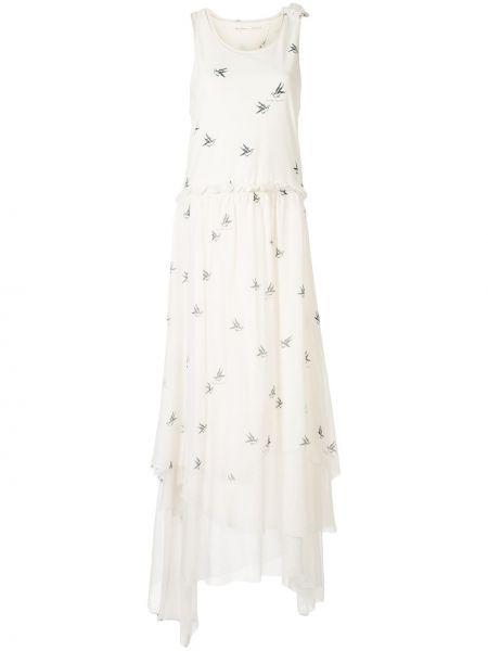 Асимметричное платье макси с оборками без рукавов с вырезом Aleksandr Manamïs