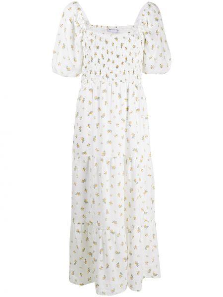 Белое платье мини с вырезом с короткими рукавами из вискозы Faithfull The Brand