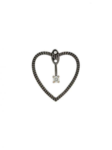 Черные золотые серьги с бриллиантом на кнопках Yvonne Léon