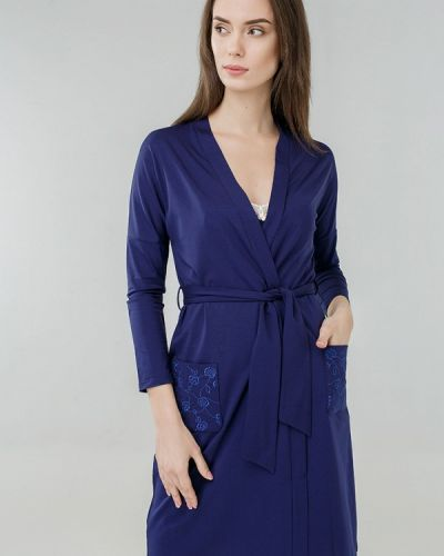 Синий домашний халат Ora