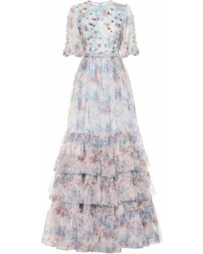 Платье мини из органзы с цветочным принтом Costarellos