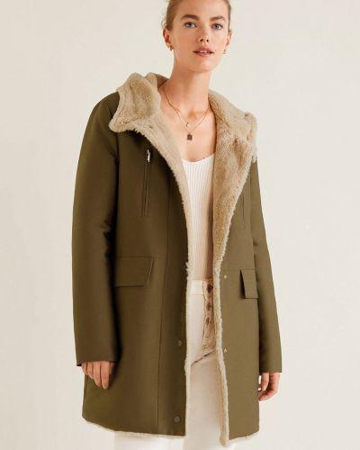 Утепленная куртка с капюшоном с мехом Mango