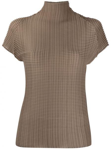 Облегченная коричневая рубашка с коротким рукавом с короткими рукавами Issey Miyake