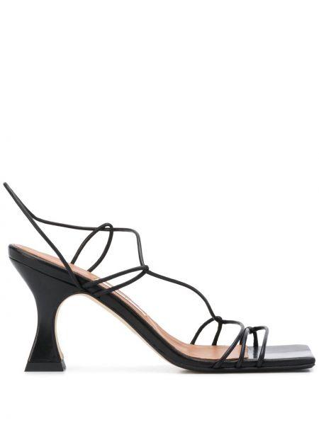 Кожаные черные сандалии на каблуке квадратные Miista