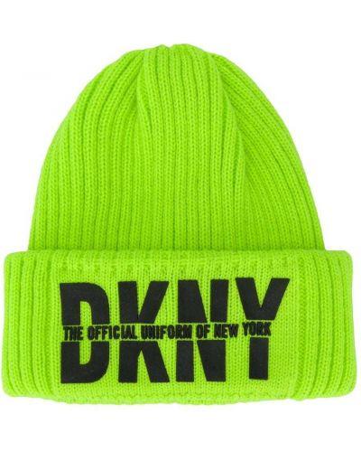 Акриловая зеленая шапка с отворотом Dkny Kids