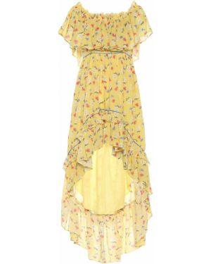 Теплое платье с цветочным принтом желтый Loveshackfancy