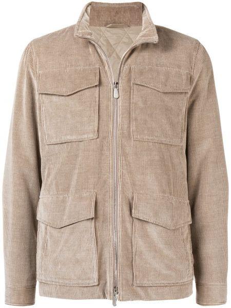 Бежевая длинная куртка с манжетами с карманами вельветовая Eleventy