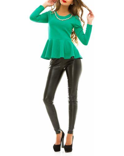Блузка с длинным рукавом с баской зеленый Lacywear