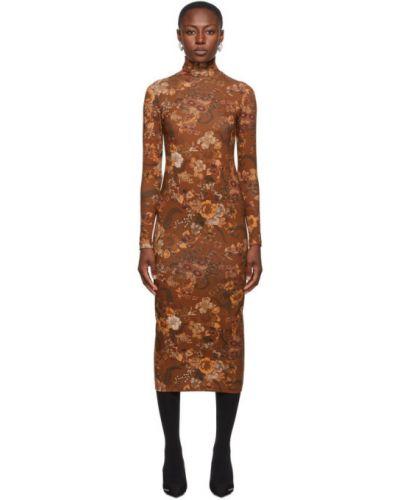 Brązowy bawełna długo sukienka z kołnierzem rozciągać Balenciaga