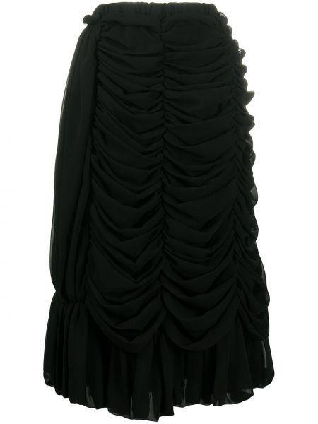 Черная юбка миди с оборками с поясом Comme Des Garçons