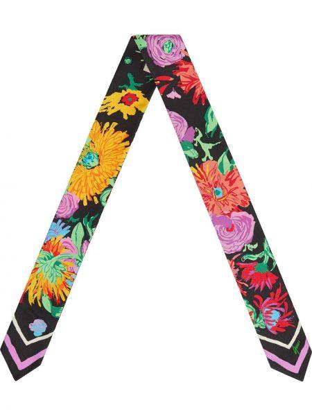 Черный шелковый платок в цветочный принт Gucci